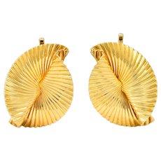 Tiffany & Co. 1950's Retro 14 Karat Gold Foliate Ear-Clip Earrings