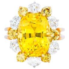 Oscar Heyman 14.86 CTW No Heat Golden Yellow Sapphire Fancy Colored Diamond Platinum 18 Karat Gold Ring GIA