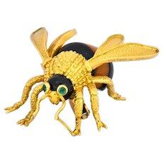 Van Cleef & Arpels French 1970's Vintage Onyx Amber Chrysoprase 18 Karat Gold Bee Bug Brooch