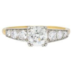 Circa 1910 0.89 CTW Diamond Platinum-Topped 14 Karat Gold Engagement Ring