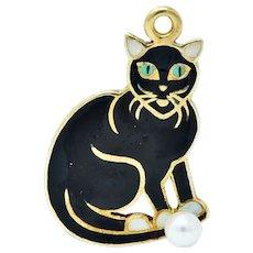 Art Nouveau Pearl Enamel 14 Karat Gold Cat Charm
