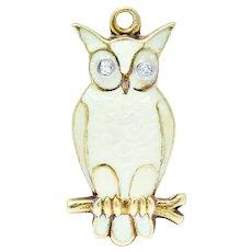 Art Nouveau Diamond Enamel 14 Karat Gold Owl Charm
