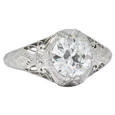 Edwardian 1.55 CTW Transitional Cut Diamond Engagement Ring Circa 1915 GIA