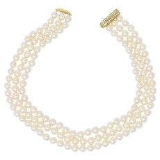 Tiffany & Co. Diamond Pearl 18 Karat Yellow Gold Triple Strand Necklace