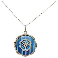 Déposé Belle Époque  Enamel Diamond Platinum-Topped 18 Karat Gold French Lariat Pendant Necklace