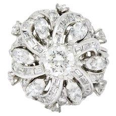 Superb Retro 3.15 CTW Diamond Platinum Swirl Cocktail Ring