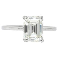 Contemporary 2.38 CTW Diamond Platinum Solitaire Emerald Cut Engagement Ring GIA