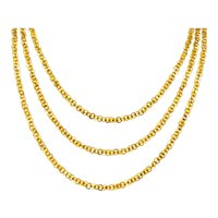 64 Inch Victorian 14 Karat Yellow Gold Long Chain Link Necklace
