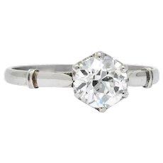 Edwardian 0.98 CTW Old European Cut Diamond Platinum Engagement Ring GIA