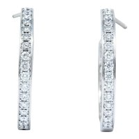 Cartier 1.80 CTW Diamond 18 Karat White Gold Contemporary In-Out Hoop Earrings