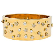 Retro 2.28 CTW Diamond 14 Karat Yellow Gold Bangle 1940's Bracelet