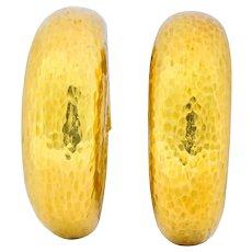 David Webb 18 Karat Yellow Gold Hoop Ear-Clip Earrings