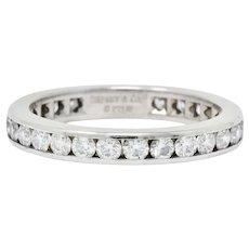 Tiffany & Co. 1.05 CTW Round Brilliant Cut Diamond Platinum Eternity Band Ring