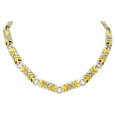 Bulgari Parentesi 18 Karat Gold Stainless Steel Necklace