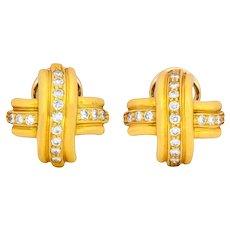 Tiffany & Co. 1992 Vintage 0.60 CTW Diamond 18 Karat Gold Signature X Ear-Clip Earrings