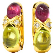 Tiffany & Co. 1990's Tourmaline Peridot Diamond 18K Yellow Gold J Hoop Earrings