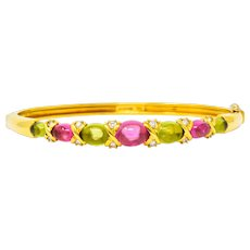 Tiffany & Co. 1990's Vintage Tourmaline Peridot Diamond Bangle Bracelet