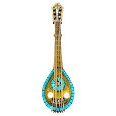 French Victorian Diamond Pearl Turquoise 18 Karat Gold Mandolin Brooch