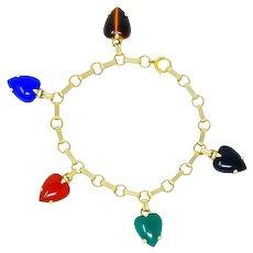 Circa 1940's Retro Agate 14 Karat Gold Heart Charm Bracelet