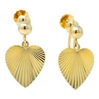 Cartier 1940's Retro 14 Karat Yellow Gold Heart Drop Earrings