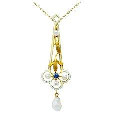 A.J. Hedges & Co. 1905 Art Nouveau Enamel Sapphire Pearl 14 Karat Gold Drop Necklace