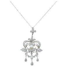 Edwardian 1.20 CTW Diamond Pearl Platinum-Topped 14 Karat Gold Pendant Necklace