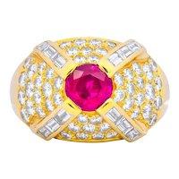 1980's Vintage 3.75 CTW Ruby Diamond 18 Karat Gold Cocktail Ring
