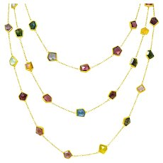 Contemporary Fancy Colored Tourmaline 18 Karat Gold Long Station Necklace