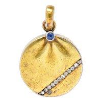 Late Victorian Russian Sapphire Diamond 14 Karat Gold Locket