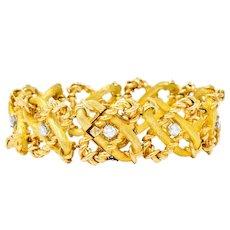 Schlumberger Tiffany & Co. 1970's French Diamond 18 Karat Gold Link Bracelet