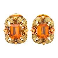 Retro 6.40 CTW Citrine 18 Karat Tri-Color Gold Leaves & Flowers Floral Ear-Clip Earrings