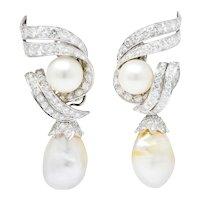 David Webb 1960's 4.76 CTW Diamond Pearl Platinum & 18 Karat Gold Day Night Earrings