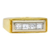 Modernist 0.72 CTW Diamond Unisex 18 Karat Gold Platinum Ring