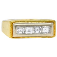 Modernist 0.72 CTW Diamond Unisex 18 Karat Gold Platinum Ring