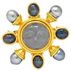Elizabeth Locke Gray Moonstone Labradorite South Sea Pearl 18 Karat Gold Man-in-Moon Brooch