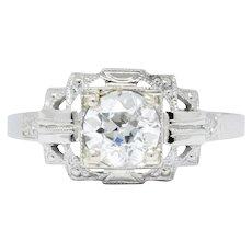 Art Deco 0.73 CTW Diamond 18 Karat White Gold Engagement Ring GIA