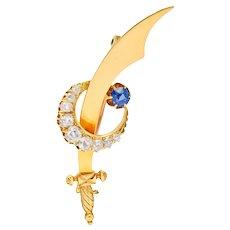 Victorian 1.32 CTW Diamond Sapphire 18 Karat Gold Saber & Crescent Brooch