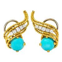 1970's Diamond Turquoise 18 Karat Gold Ear-Clip Earrings