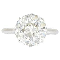 Edwardian 4.30 CTW Old European Cut Diamond Platinum Engagement Ring Circa 1915