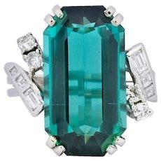 1960's 8.28 CTW Emerald Cut Tourmaline Diamond Platinum Cocktail Ring