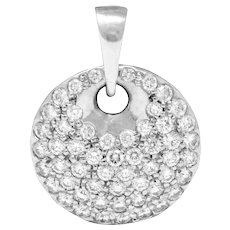 Elsa Peretti Tiffany & Co. 1.00 CTW Diamond Platinum Circle Disk Pendant Charm