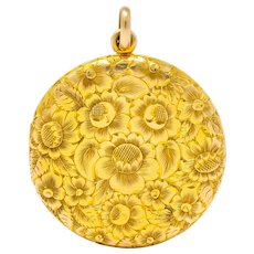 Large Carter, Gough & Co. Edwardian 14 Karat Gold Locket Floral Pendant Circa 1900's