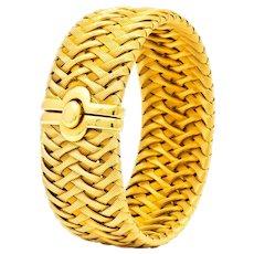 Roberto Coin Italian 18 Karat Yellow Gold Wide Woven Bracelet
