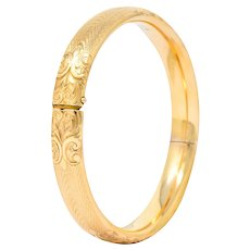 Burstow Kollmar & Co. Victorian 14 Karat Gold Engraved Bangle Bracelet