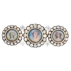 Tiffany & Co. Victorian 1.95 CTW Diamond 14 Karat Gold Silver Painted Portrait Pendant Brooch