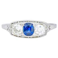 Edwardian 1.38 CTW Diamond Sapphire Platinum Three Stone Band Ring