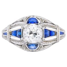 Art Deco 0.60 CTW Diamond Sapphire Platinum Engagement Ring