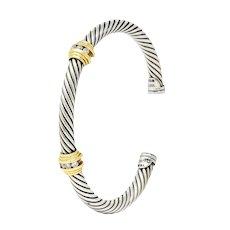 David Yurman Diamond 18 Karat Gold Sterling Silver Cable Twist Bracelet
