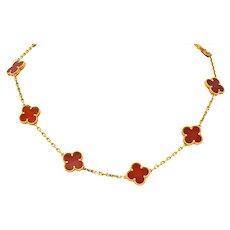 Van Cleef & Arpels Carnelian 18 Karat Yellow Gold Vintage Alhambra Necklace