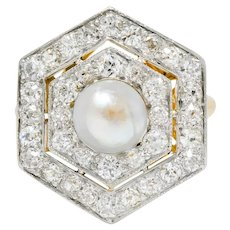 Edwardian Natural Pearl 1.30 CTW Diamond Platinum 14 Karat Gold Ring